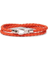 Tod's | - Woven Leather Wrap Bracelet - Papaya | Lyst