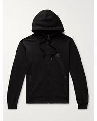Dolce & Gabbana Loopback Cotton-jersey Zip-up Hoodie - Black