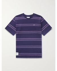 WTAPS Jam Striped Cotton-jersey T-shirt - Blue