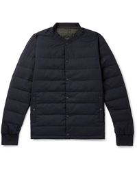 Incotex + Nanamica Reversible Checked Shell And Wool-blend Quilted Down Jacket - Blue