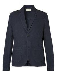 Folk - Navy Unstructured Garment-dyed Linen And Cotton-blend Blazer - Lyst