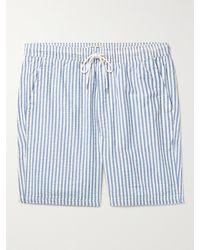 Alex Mill Saturday Striped Cotton-seersucker Drawstring Shorts - Blue