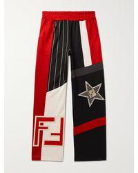 Fendi Logo-appliquéd Panelled Jersey Sweatpants - Red