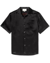 Gucci Camp-collar Embellished Satin Shirt - Black