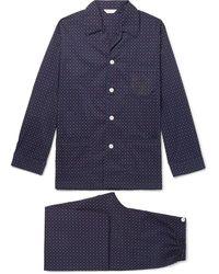 Derek Rose Nelson 72 Printed Cotton-poplin Pyjama Set - Blue