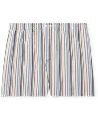Zimmerli Striped Lyocell And Cotton-blend Pajama Shorts - Multicolor