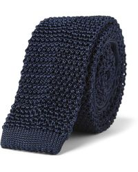 Charvet Slim Knitted Silk Tie - Blue