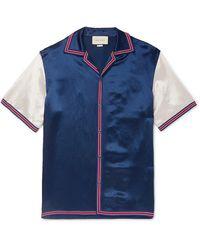 Gucci Camp-collar Logo-embroidered Satin Shirt - Blue