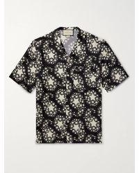 Gucci Camp-collar Printed Silk-twill Shirt - Black