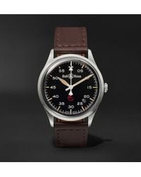 Bell & Ross - Br V1-92 Military Automatic 38.5mm Stainless Steel And Leather Watch - Lyst