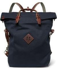 Bleu De Chauffe - Convertible Leather-trimmed Canvas Backpack - Lyst