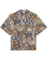 CELINE HOMME Camp-collar Animal-print Voile Shirt - Brown