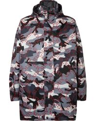 Valentino Logo And Camouflage-print Shell Hooded Coat - Gray