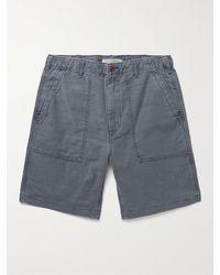 Outerknown Voyager Utility Slub Organic Cotton Shorts - Blue