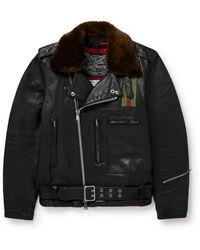Our Legacy 118 Second Läder Faux Fur-trimmed Leather Jacket - Black