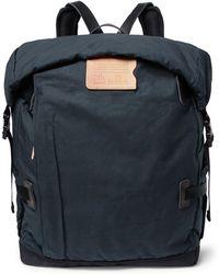 Bleu De Chauffe Basile Leather-trimmed Waxed-cotton Ripstop Backpack - Blue