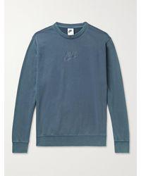 Nike Sportswear Club Logo-print Cotton-blend Jersey Sweatshirt - Blue