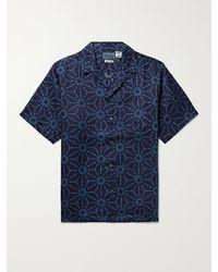 Blue Blue Japan Asanoha Camp-collar Indigo-dyed Linen Shirt - Blue