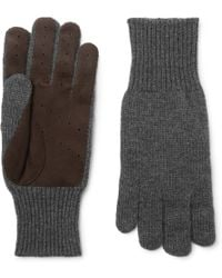 Brunello Cucinelli - Perforated Suede-panelled Cashmere Gloves - Lyst