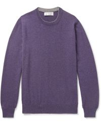 Brunello Cucinelli - Contrast-tipped Cashmere Sweater - Lyst