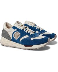 Visvim Roland Leather-trimmed Suede And Mesh Sneakers - Blue