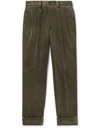 Margaret Howell Tapered Pleated Cotton-corduroy Pants - Green