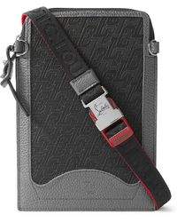 Christian Louboutin Rubber-trimmed Full-grain Leather Pouch - Black