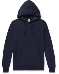 Aspesi Cotton, Cashmere And Wool-blend Hoodie - Blue