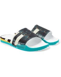 Raf Simons + Adidas Originals Samba Adilette Printed Textured-rubber Slides - Blue