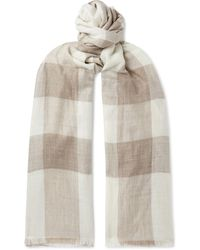 Anderson & Sheppard Fringed Checked Cashmere Scarf - Multicolour