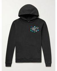 Pasadena Leisure Club Worldwide Peace Printed Fleece-back Cotton-jersey Hoodie - Black