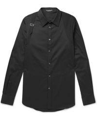 Alexander McQueen | Slim-fit Harness-detailed Piqué-panelled Stretch Cotton-blend Poplin Shirt | Lyst