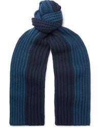 Loro Piana Colour-block Ribbed Cashmere Scarf - Blue