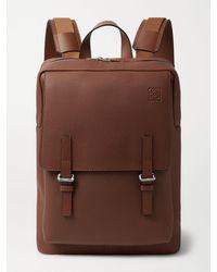 Loewe Military Logo-debossed Full-grain Leather Backpack - Brown