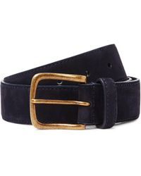 Anderson & Sheppard 3.5cm Suede Belt - Blue