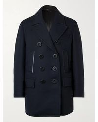 Tom Ford Slim-fit Leather-trimmed Wool And Cashmere-blend Peacoat - Black