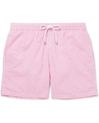 Hartford - Mid-length Striped Seersucker Swim Shorts - Lyst