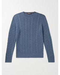 Loro Piana Slim-fit Cable-knit Baby Cashmere Sweater - Blue