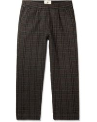 Folk Alber Checked Wool-blend Trousers - Brown