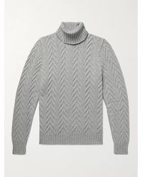 Kiton Slim-fit Cable-knit Cashmere Rollneck Jumper - Grey