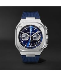 Bell & Ross Br 05 Automatic Chronograph 40mm Stainless Steel And Rubber Watch - Blue