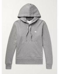 Acne Studios Ferris Logo-appliquéd Fleece-back Cotton-jersey Hoodie - Grey