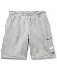 Nike Sportswear Club Wide-leg Fleece-back Cotton-blend Jersey Cargo Shorts - Grey