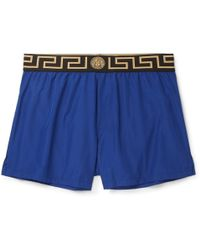 Versace - Slim-fit Short-length Logo-trimmed Shell Swim Shorts - Lyst