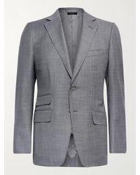 Tom Ford O'connor Slim-fit Super 110s Sharkskin Wool Suit Jacket - Grey