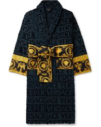 Versace Printed Satin-trimmed Logo-jacquard Cotton-terry Robe - Blue