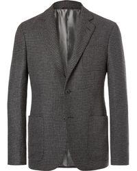 Giorgio Armani - Grey Upton Slim-fit Unstructured Houndstooth Cashmere Blazer - Lyst
