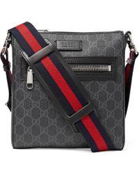 Gucci - Leather-trimmed Monogrammed Coated-canvas Messenger Bag - Lyst