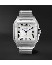 Cartier - Santos 39.8mm Interchangeable Stainless Steel And Leather Watch - Lyst
