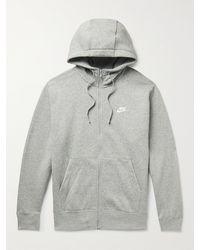 Nike Sportswear Club Logo-embroidered Cotton-blend Jersey Zip-up Hoodie - Grey